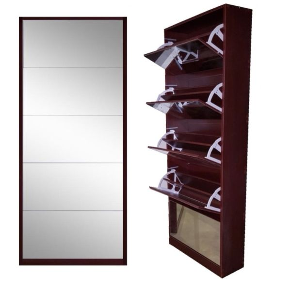 5 Draw Shoe Mirror Cabinet Mahogony colour