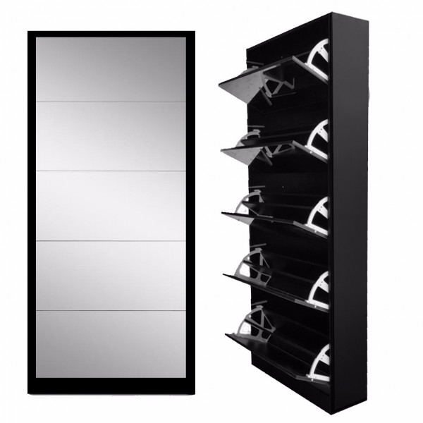 Black Colour 5 Draw Shoe Mirror Cabinets