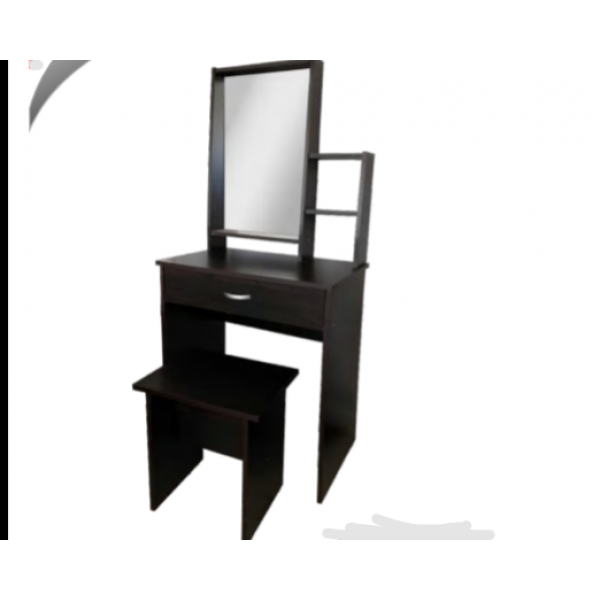 1 Drawer Mirror Dressing Table Matching Cushion Stool (WENGE COLOUR)