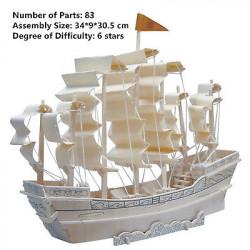 3D Wooden Ancient Sailboat Construction Puzzle(3p
